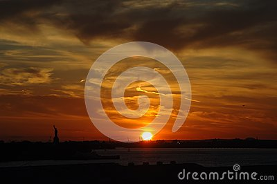 Sunset on New York Harbor