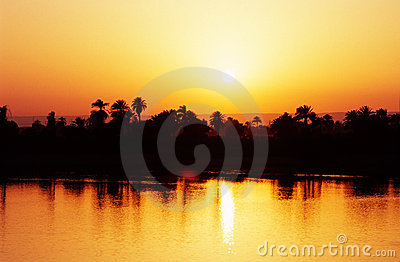 Sunset on the Nile River, Egypt.