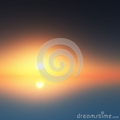 Sunset at the ocean in fog