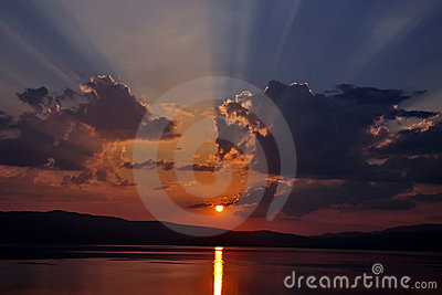 Sunset at Ohrid lake
