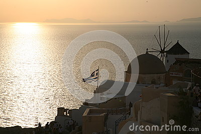 Sunset of Oia Santorini Greek