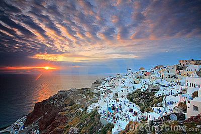 Sunset at Oia village