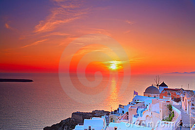 Sunset in Oia village