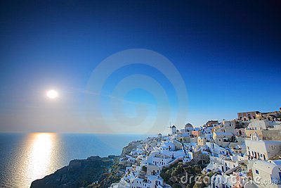 Sunset in Oia village, Greece