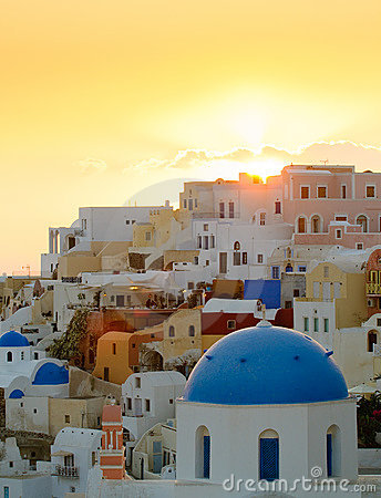 Sunset in Oia village, Santorini island, Greece