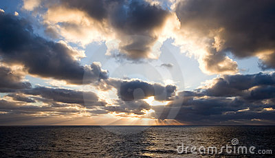 Sunset on open seas