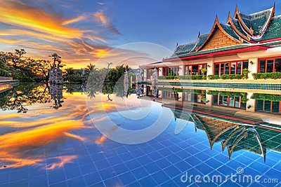 Sunset in oriental scenery of Thailand