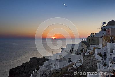 sunset over Agean sea in Santorini Editorial Photography