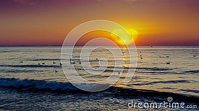Sunset over baltic sea
