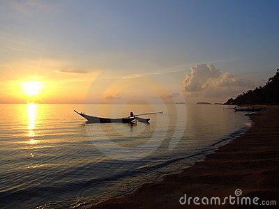 Sunset over the beach, Koh Phangan, Thailand.