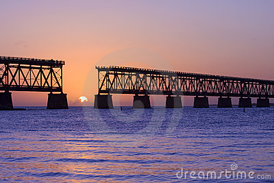 Sunset over bridge in Florida keys, Bahia Honda st