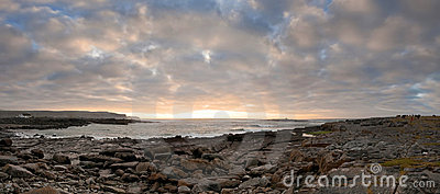 Sunset over Burren coast panoramic