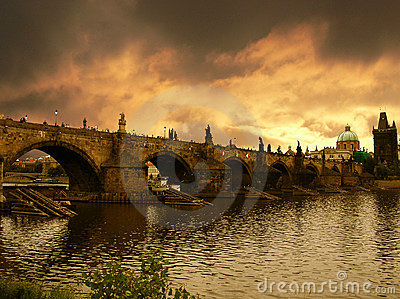 Sunset over Charles Bridge in Prague