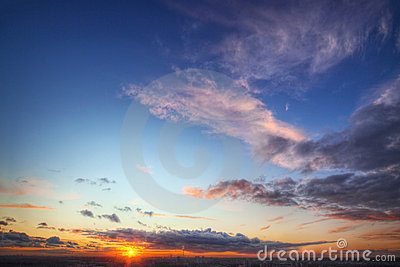 Sunset over city horizon