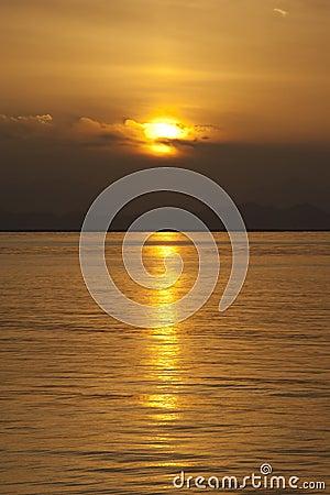 Sunset over coastal mountains