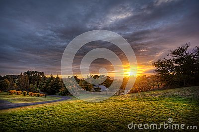 Sunset Over Country Field Free Public Domain Cc0 Image
