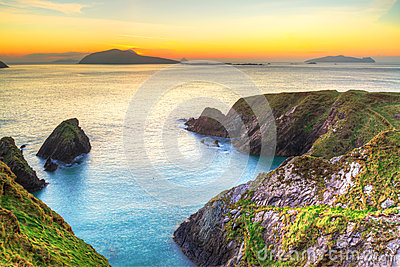 Sunset over Dunquin bay on Dingle Peninsula