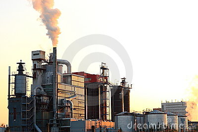 Sunset over factory