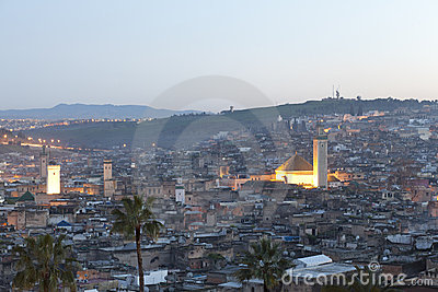 Sunset over Fes in Marocco