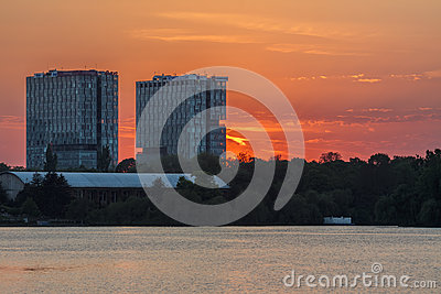 Sunset over Herastrau Park Editorial Image