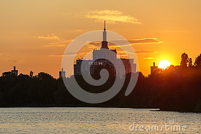 Sunset over House of the Free Press, Bucharest Editorial Stock Image