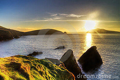 Sunset over idyllic irish coast