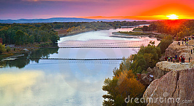 Sunset over Irtysh river, Xinjiang China
