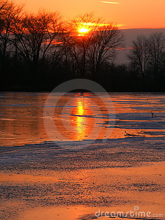 Sunset over Kishwaukee River