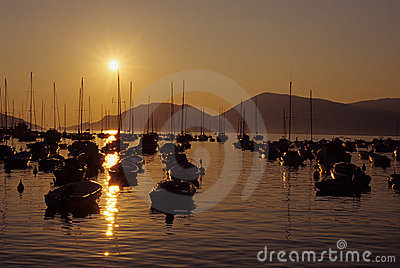 Sunset over Lerici harbor