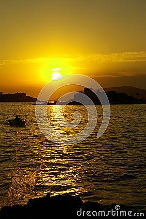 Sunset over Miriste harbor