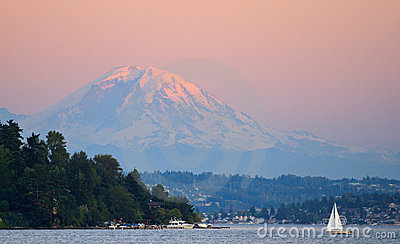 Sunset Over Mount Rainier