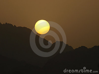 Sunset over the Mountains in Sinai Peninsula