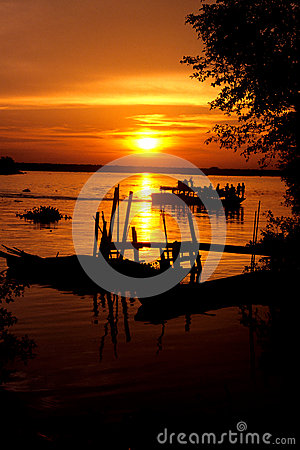 Sunset over Perak River Editorial Stock Image