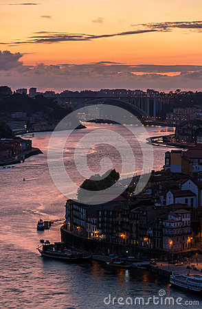 Sunset over Porto city, Portugal