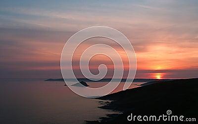 Sunset over Rame Head Cornwall