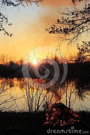 Sunset over the river, Russia