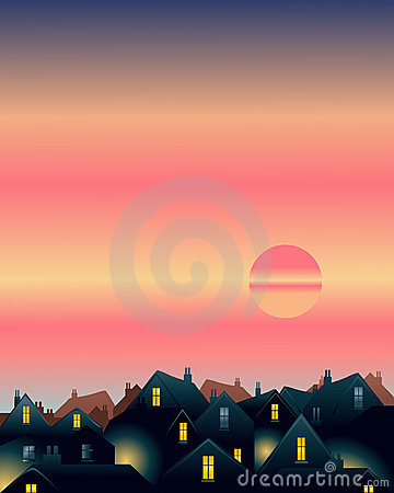 Sunset over rooftops