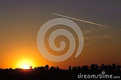 Sunset over rural landscape