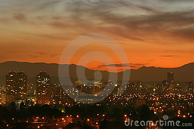 Sunset over Santiago, Chile