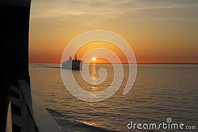 Sunset over sea at Calais. France