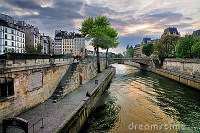 Sunset over Seine, Paris Editorial Photo