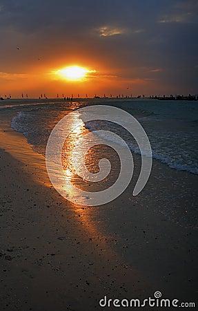 Sunset over Sharjah beach