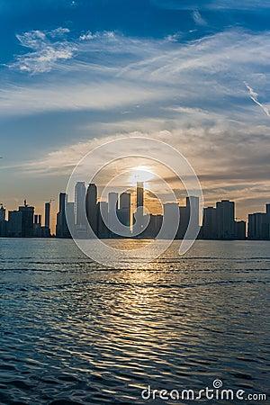 Sunset over Sharjah city