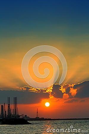 Sunset over Sharjah coastline