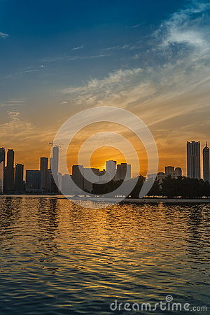 Sunset over Sharjah skyline