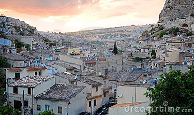 Sunset over Sicilian village