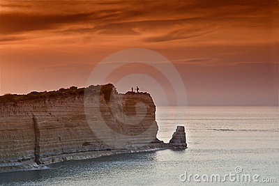 Sunset over Sidari at Corfu island