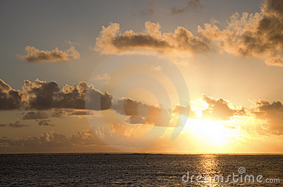 Sunset over South Pacific Ocean