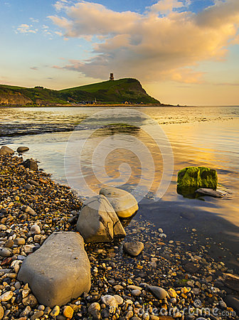 Free Sunset Over The Cliffs At Kimmeridge Royalty Free Stock Image - 55049956