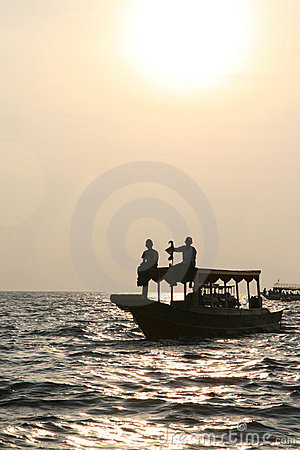 Sunset over Tonle Sap lake in Cambodia